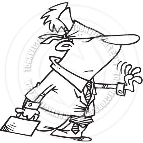 Cartoon Business Uncertainty (Black and White Line Art) by Ron.