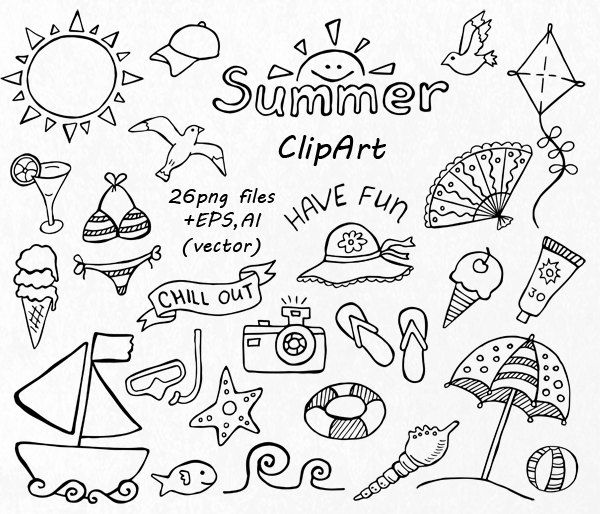 GROS lot de cliparts Doodle d\'été, à la main dessinée.
