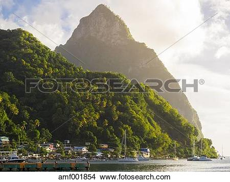 Stock Photo of Caribbean, St. Lucia, Soufriere, Volcano Gros Piton.