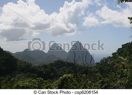 Stock Photo of Piton Mts., St. Lucia.