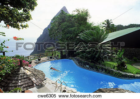 Stock Image of Woman swimming in pool at Dasheene Hotel in Ladera.