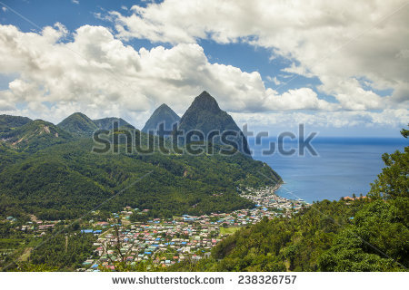 Pitons Stock Photos, Royalty.