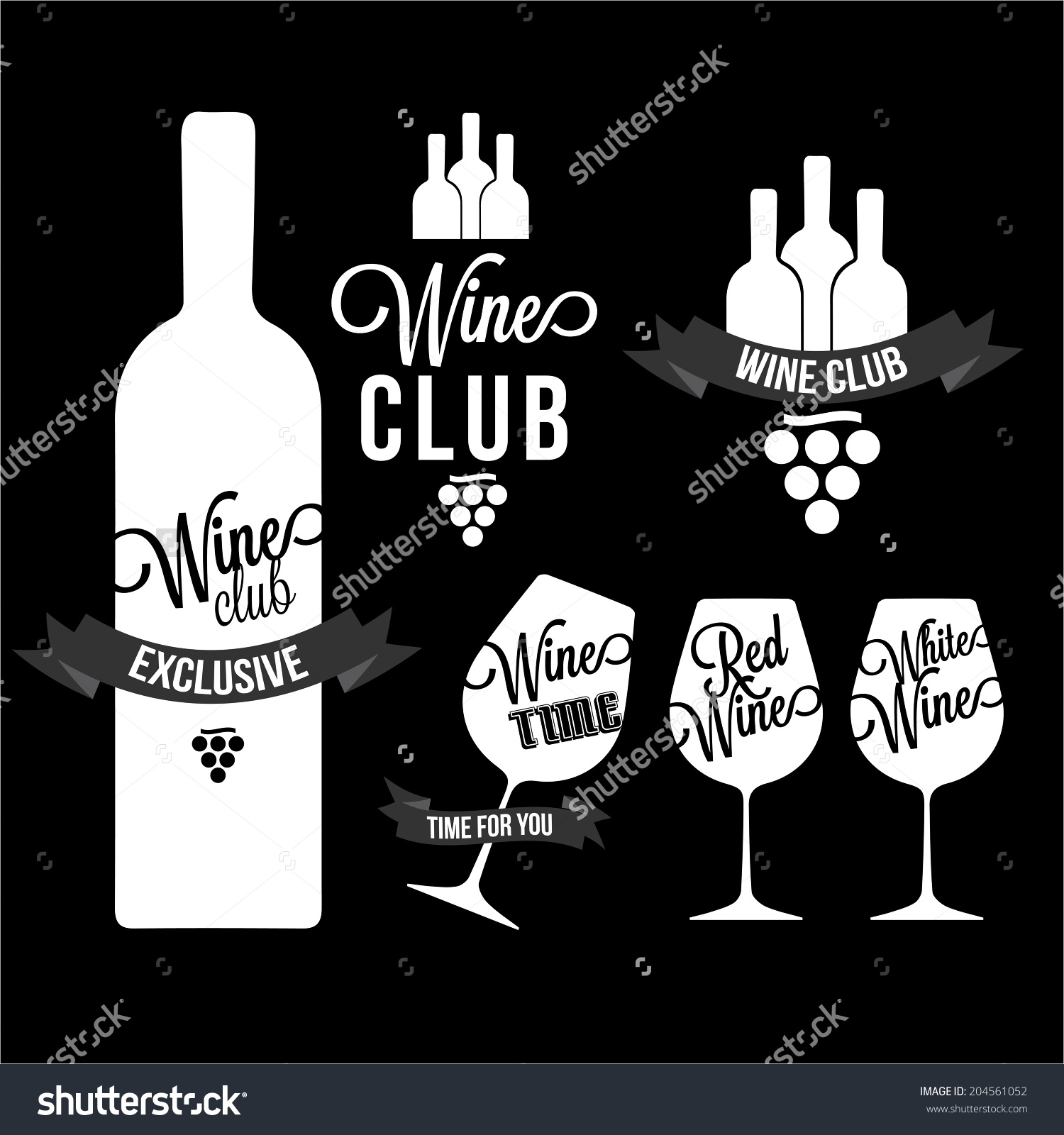 Set Wine Wine Club Wine Red Stock Vector 204561052.