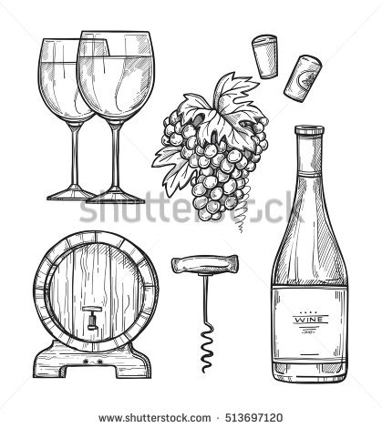 Wine Is Drawn Stock Photos, Royalty.