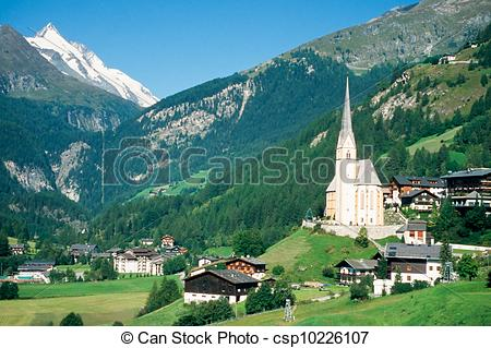 Stock Photography of Town of Heiligenblut and Grossglockner in.