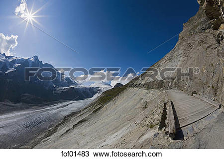 Stock Photo of Austria, Großglockner, Gamsgrubenweg Hiking Trail.