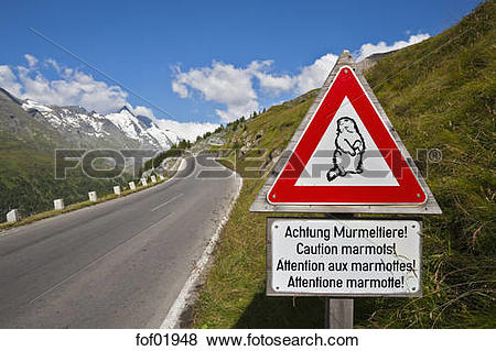 Pictures of Austria, Marmot prohibition sign on Grossglockner high.