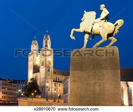 Stock Photography of Switzerland, Zurich, Church Grossmunster and.
