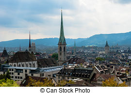 Pictures of The towers of the Grossmunster in Zurich in the last.