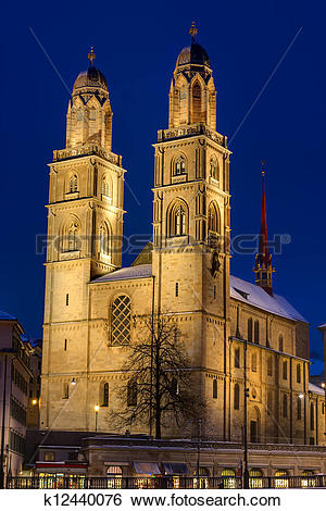 Stock Images of The Grossmunster at night k12440076.