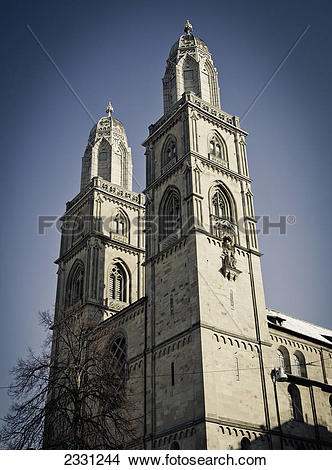 Stock Photo of Grossmunster a romanesque.