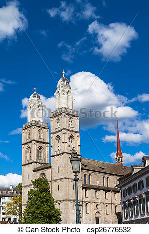 Stock Photos of The Grossmunster Church in Zurich.