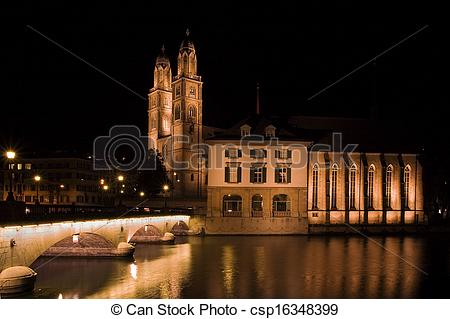 Stock Photographs of Grossmunster (The Great Cathedral) is the.