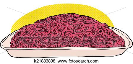 Ground Beef in Tray Clip Art.