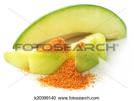 Stock Photography of Fresh green mango with table salt mixed with.
