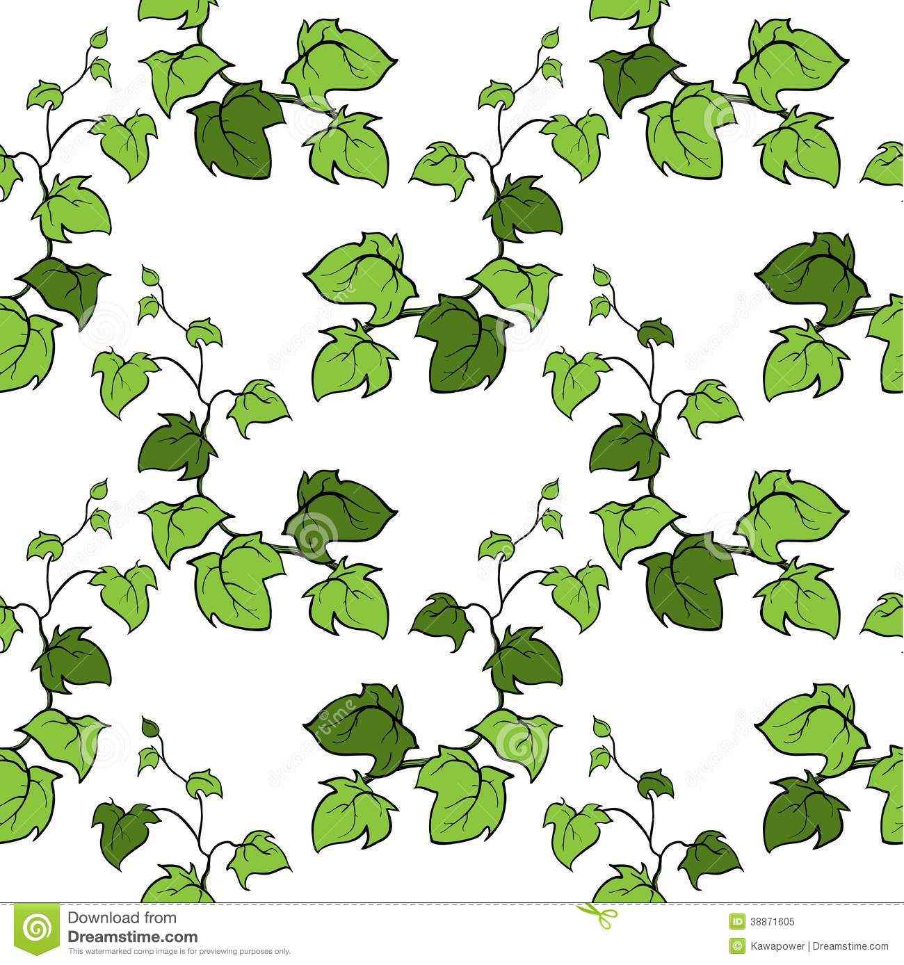 Ivy Vector Hand Drawn Seamless Pattern Stock Vector.