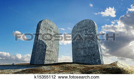 Clip Art of Ten commandments stones, viewed from ground level in.