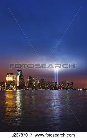Picture of USA, New York City, Manhattan, 911 light memorial on.