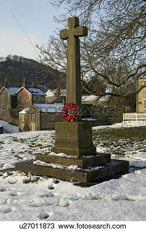 Stock Photo of England, North Yorkshire, Hutton le Hole, Snow.