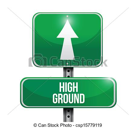 Vector Clip Art of high ground road sign illustration design over.
