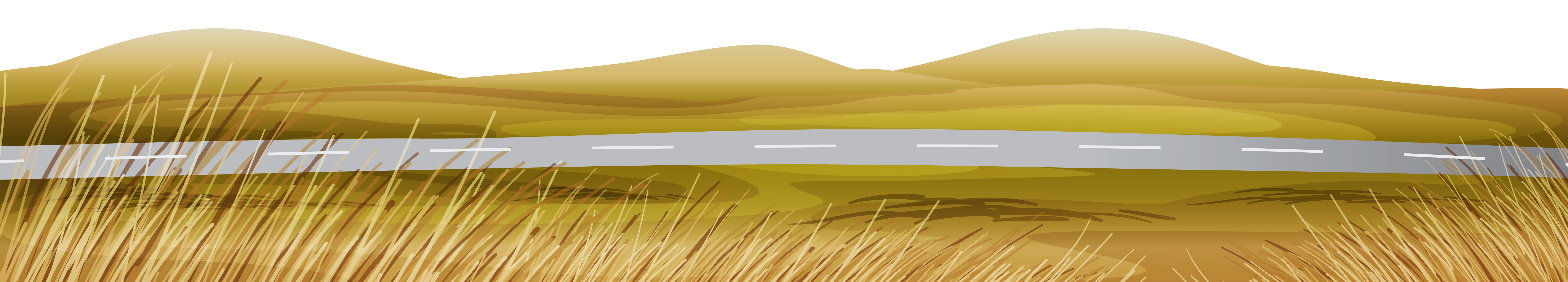 Fall Asphalted Road with Fall Grass Ground PNG Clipart.