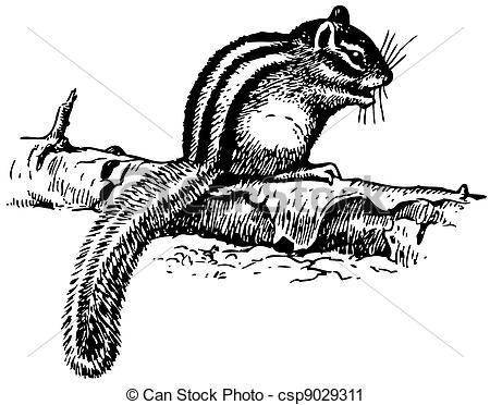 Vector Clip Art of Ground Squirrel sitting on the tree on the.