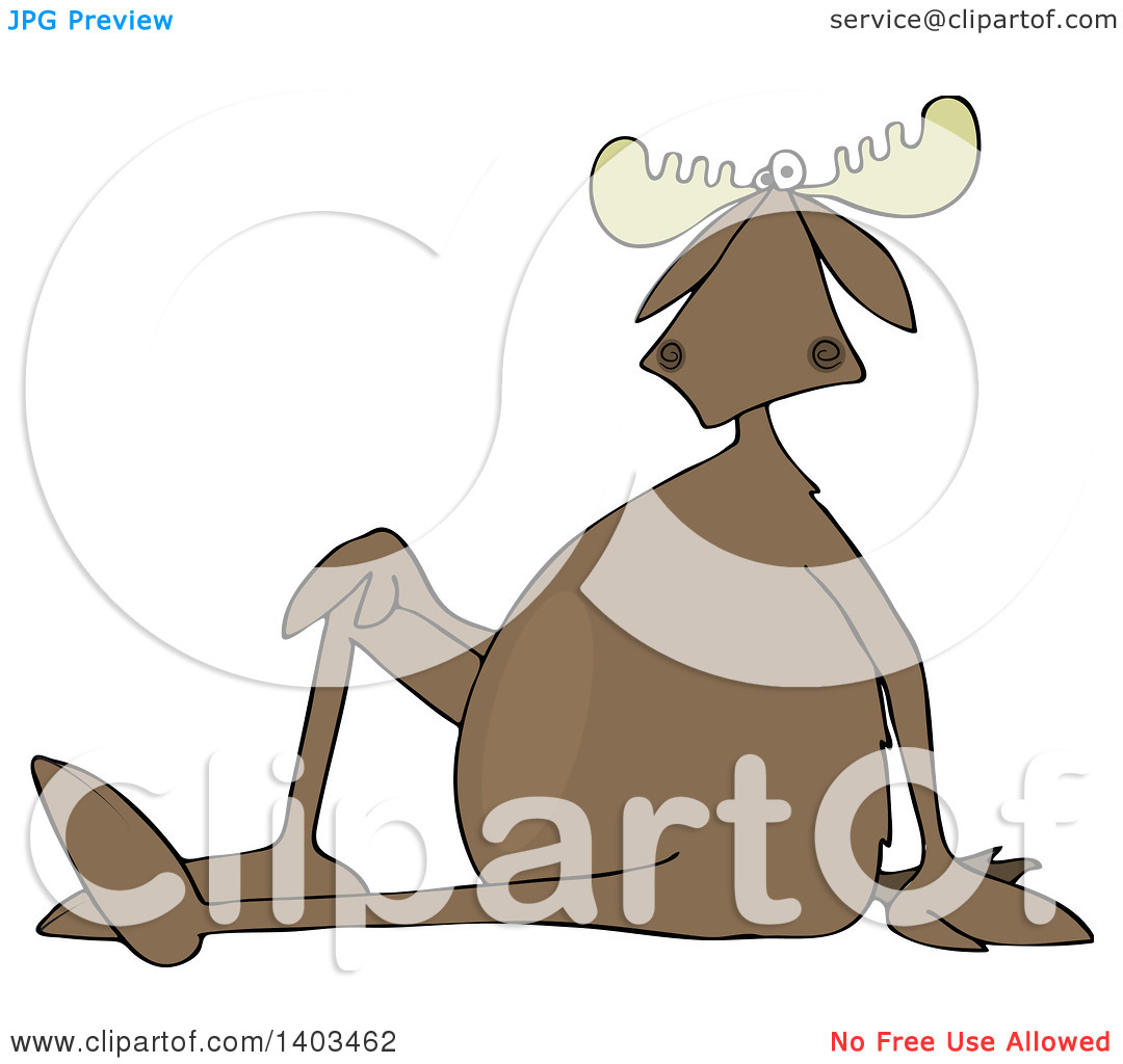 Clipart of a Cartoon Moose Sitting on the Ground with One Leg up.