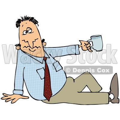 Free (RF) Clipart Illustration of a Businessman Sitting On The.