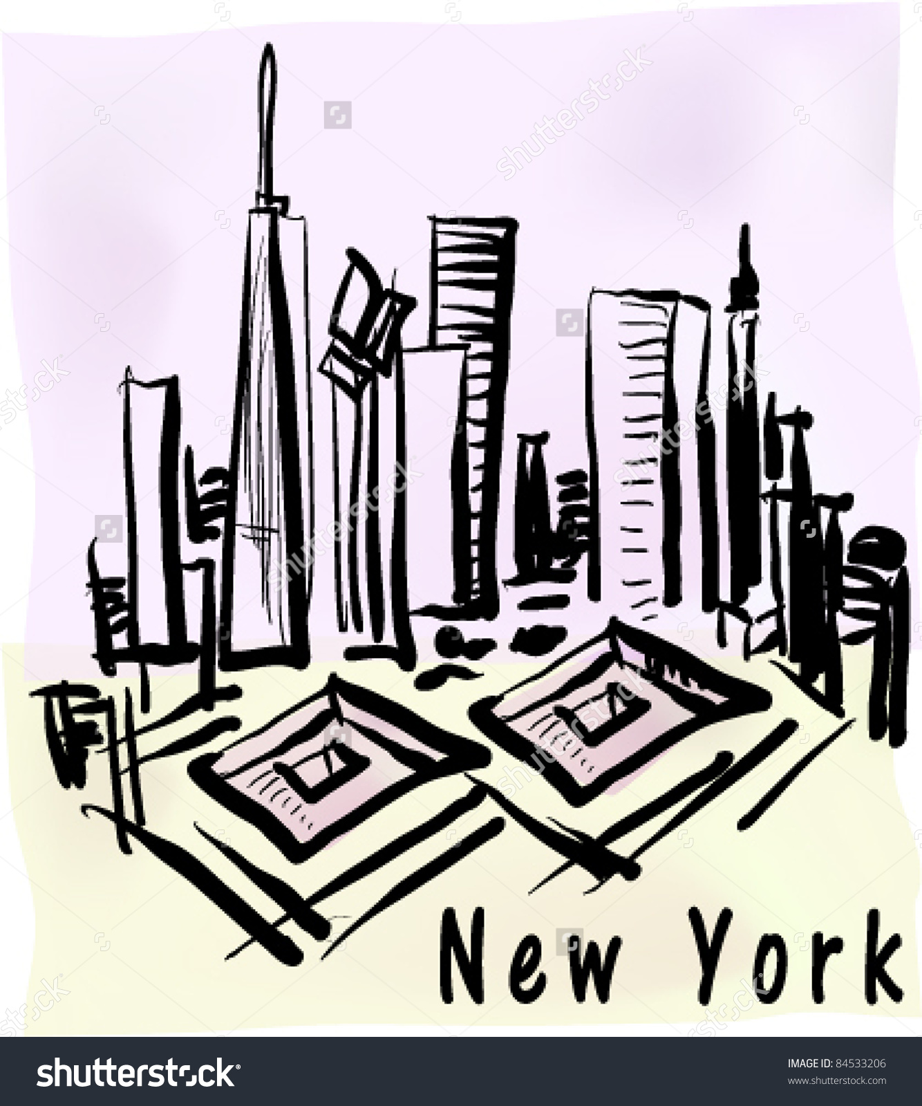 New York Ground Zero Site Pen Stock Vector 84533206.