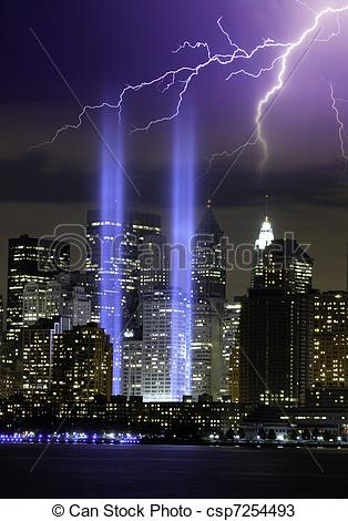 Stock Photos of Lights of Twin Towers at Ground Zero, New York.