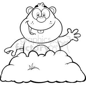 royalty free rf clipart illustration black and white happy marmmot cartoon  character waving in groundhog day vector illustration isolated on white ..