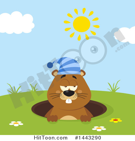 Groundhog Clipart #1443290: Flat Styled Sleepy Groundhog.