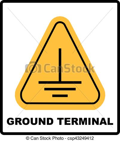 Vector Clip Art of Electrical grounding sign. Warning symbol in.