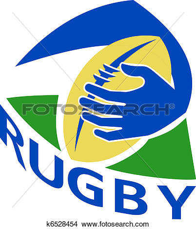 Drawings of rugby ball with hand holding grounding k6528454.