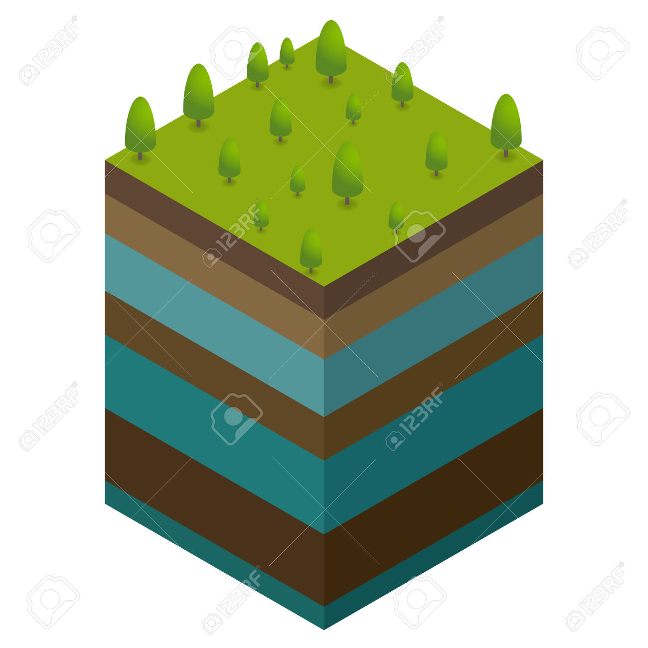 Natural Concept From Ground Level And Water Royalty Free Cliparts.