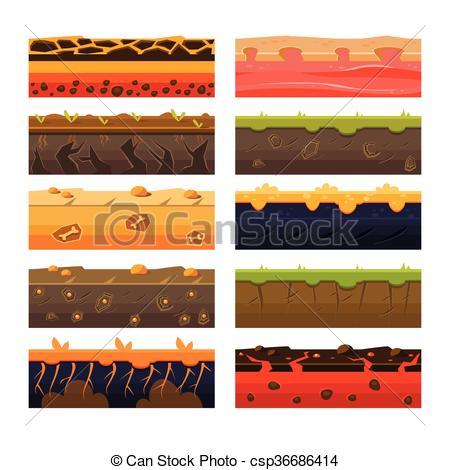 Vector Clip Art of Different Ground Platformer Level Floor Design.