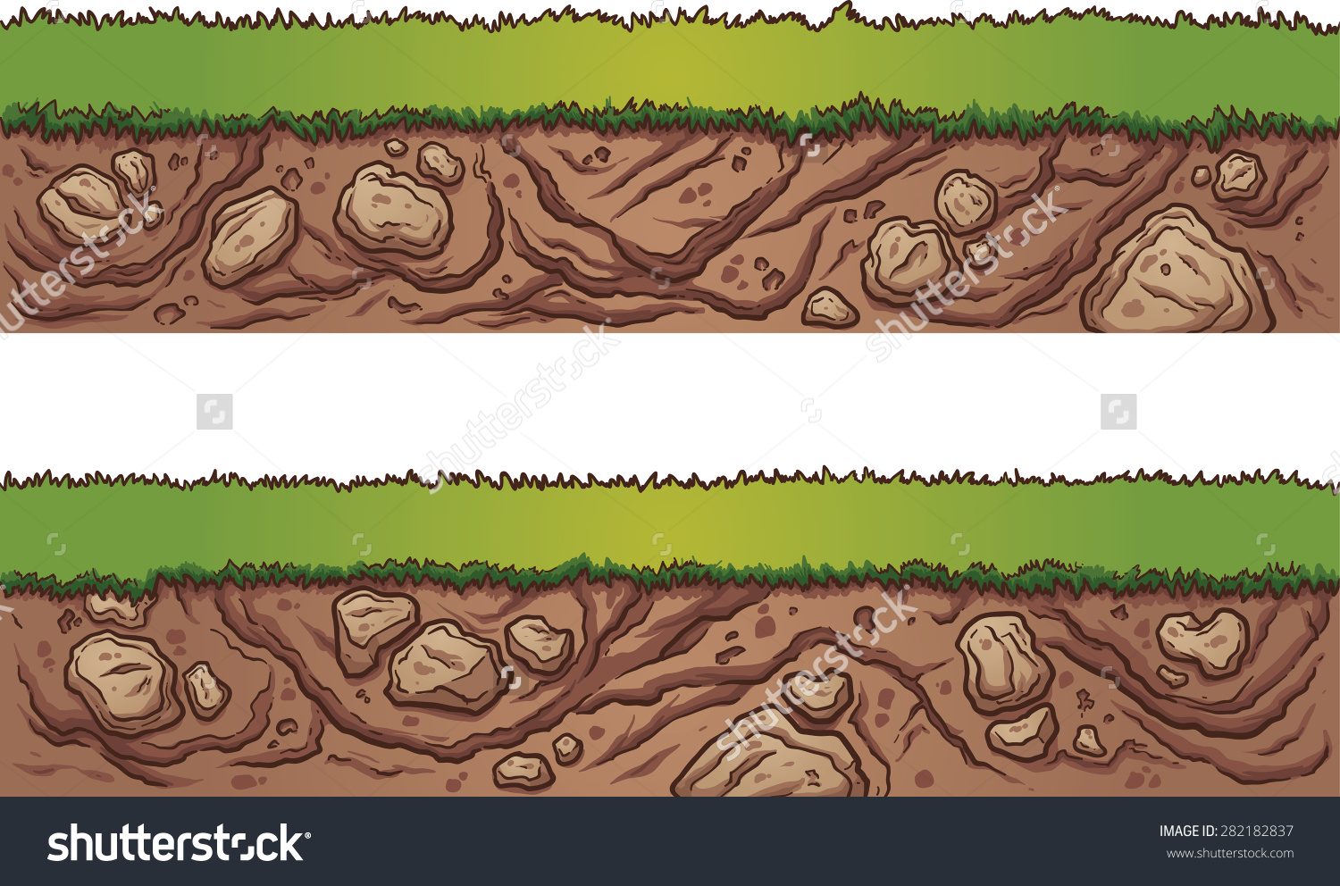 Grass Dirt Seamless Ground Vector Clip Stock Vector 282182837.