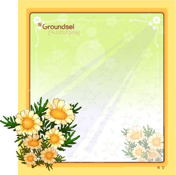 Groundsel flower frame vector.