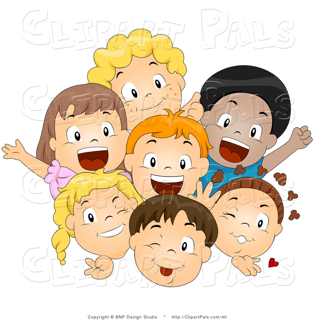Kids In A Group Clipart.