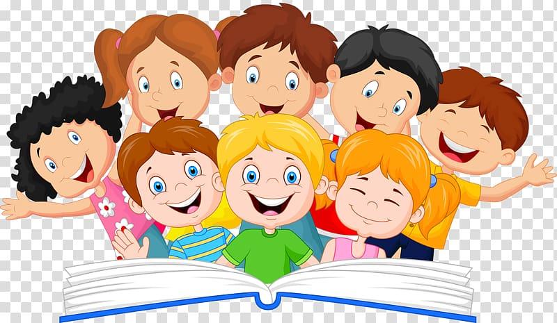 Children illustration, Book Reading Illustration, A group of.