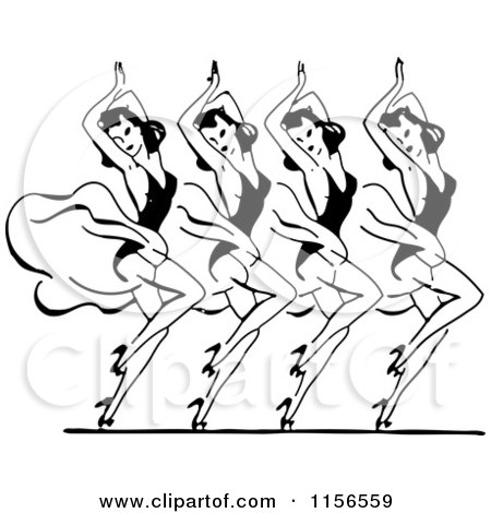 Clipart of a Black and White Retro Couple Learning to Dance.