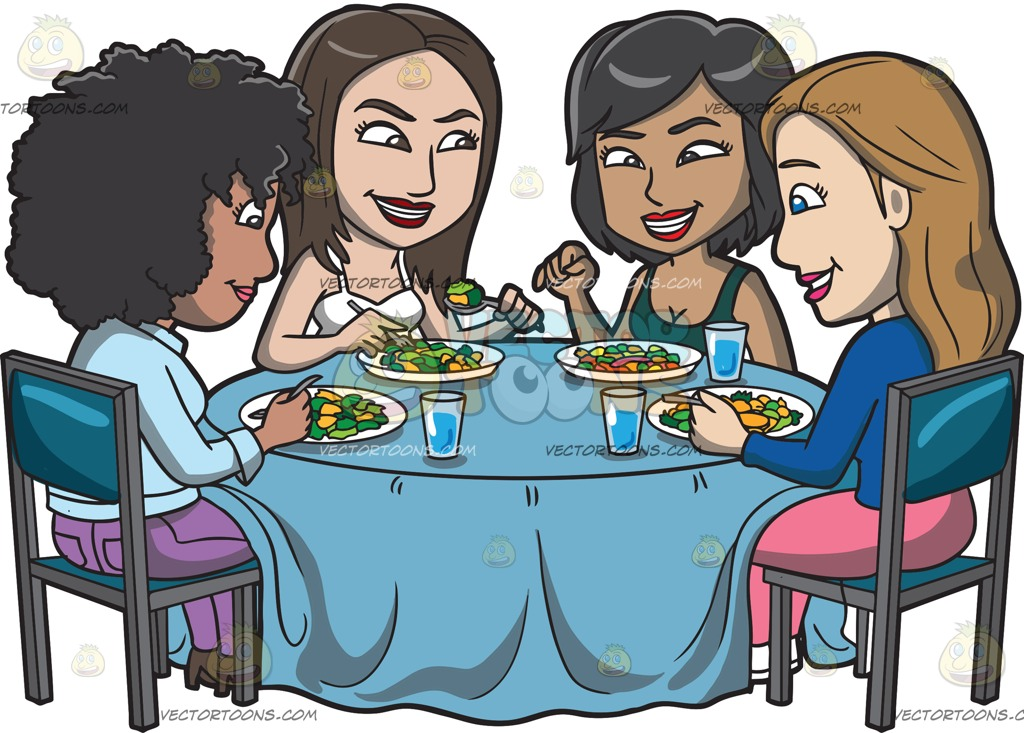 A group of girls gossiping around a healthy meal » Clipart.