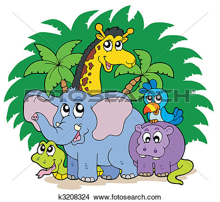 Clipart of Group of African animals k3208324.