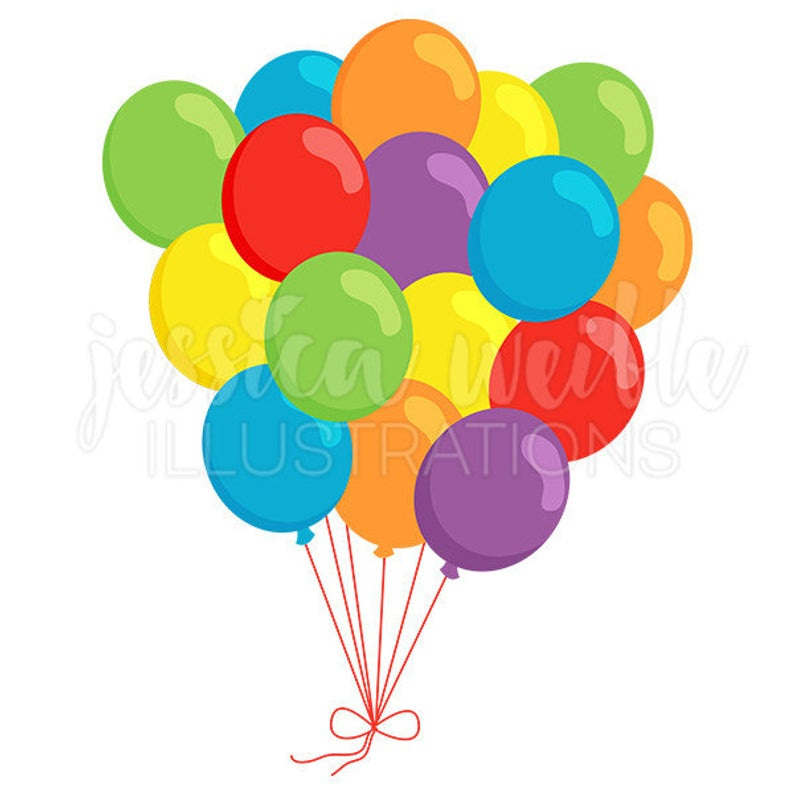 Bunch of Balloons Cute Digital Clipart, Balloons Clip art, Group of  Balloons Graphic, Illustration, #1611.