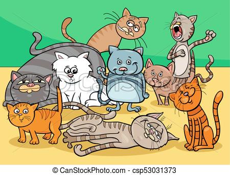 cats characters group cartoon illustration.