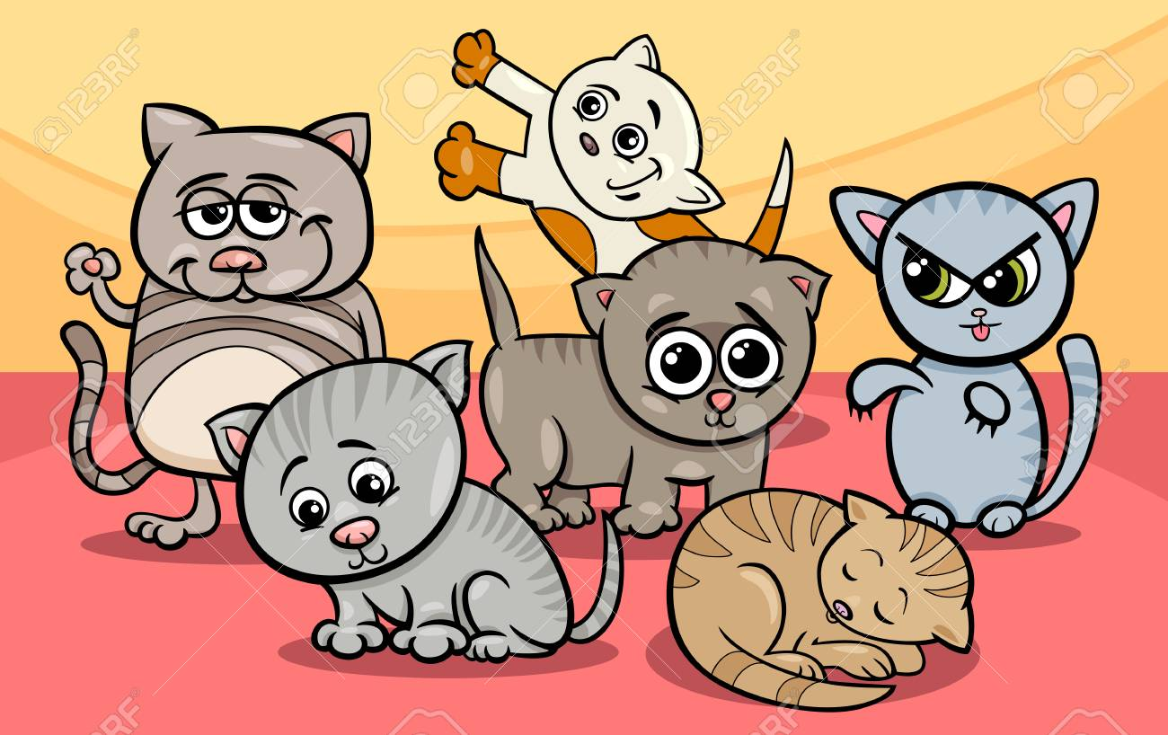Cartoon Illustration of Cute Funny Kittens or Cats Group.