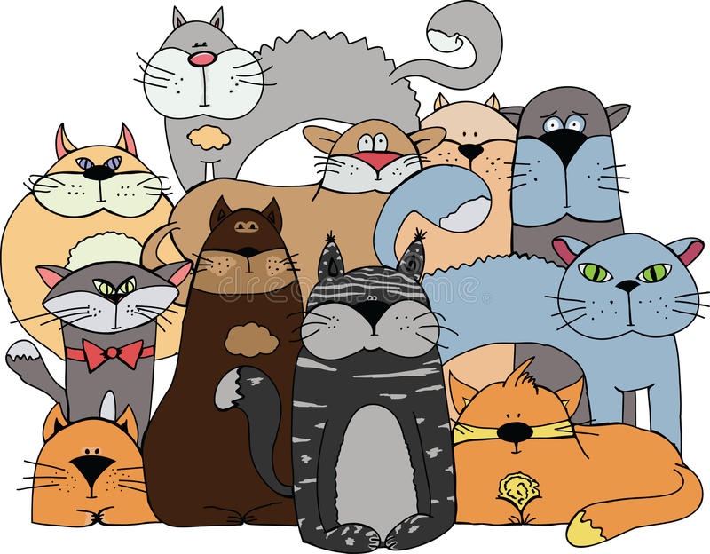 Cats Stock Illustrations.