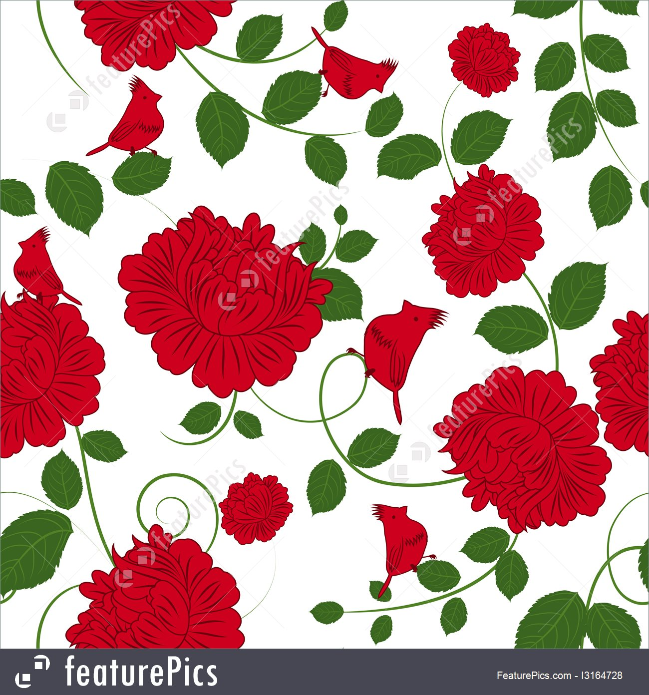 Seamless Red Flowers Pattern.
