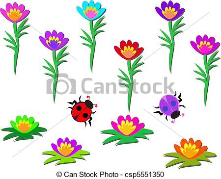 Vector Clipart of Mix Flower Pods and Ladybugs.