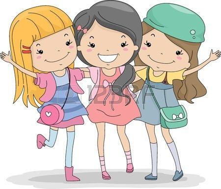 Illustration Of A Group Of Girls Huddled Together Stock.